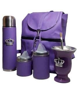 Set matero con mochila color Violeta coleccion Aylen con mate corona
