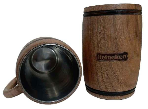 Chopera de madera con grabado laser de Heineken