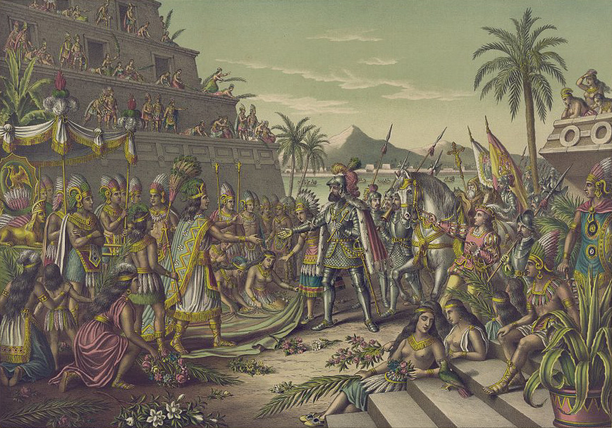 Llegada de Hernán Cortés a la corte de Moctezuma.