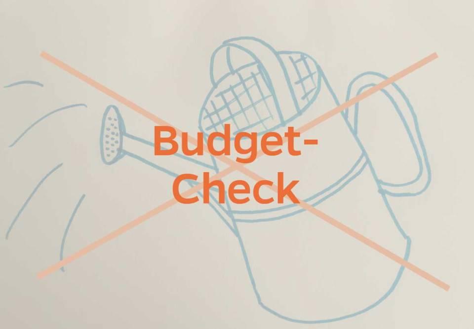 durchgestrichene Gießkanne MCL Budget-Check