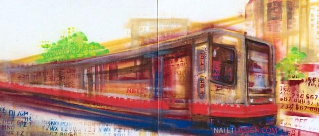Sunset Train 54x24 for muni diaries