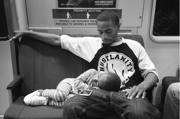 father and son on bart by david root