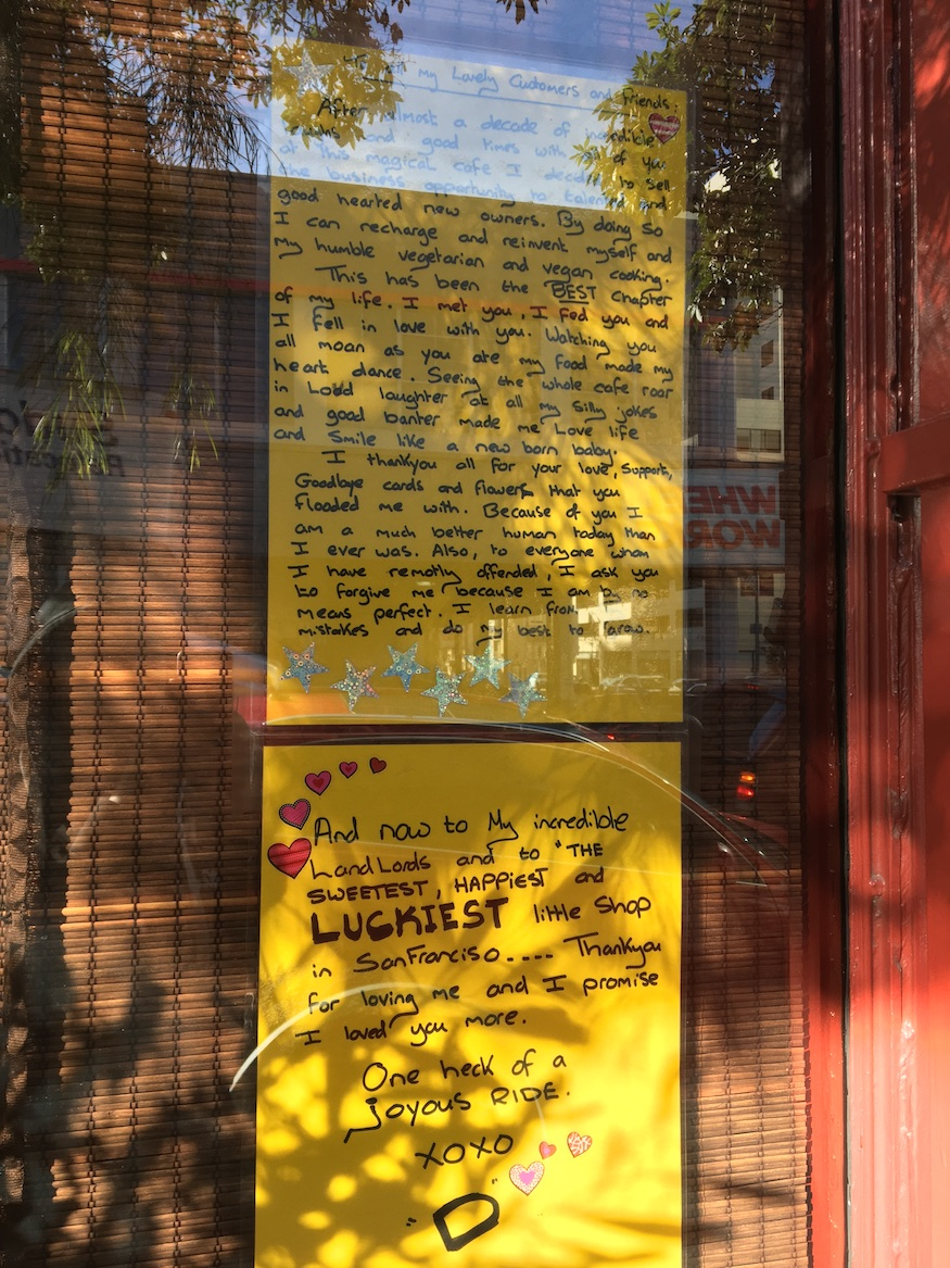Sweet goodbye letter from Red Door Cafe
