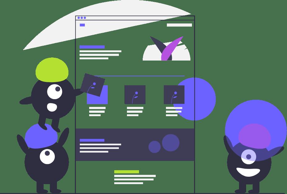 Ilustración mostrando monstruos trabajando en el UI/UX de Sammu