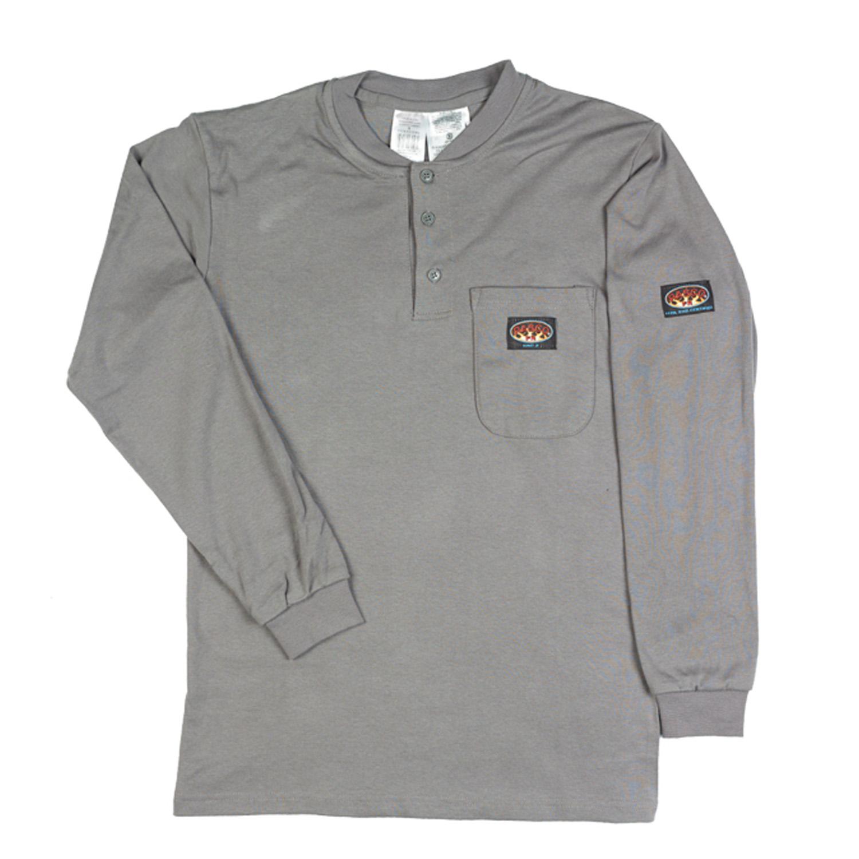 Rasco Flame Resistant Gray Henley Shirt  GRF460