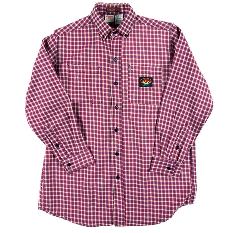 Red Plaid Flame Retardant Mens Rasco Shirt  PLR756