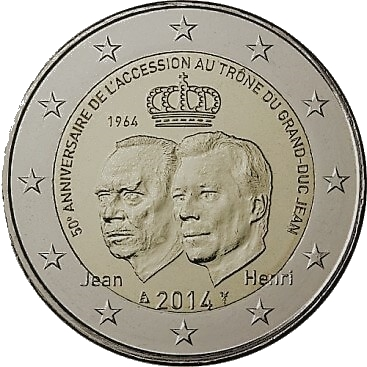 2 euromunt verjaardag van de troonsbestijging van Grand-Duc Jean Luxemburg
