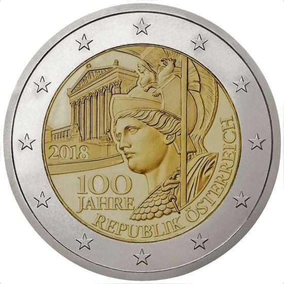2 euro herdenkingsmunt 100 jaar van Oostenrijk