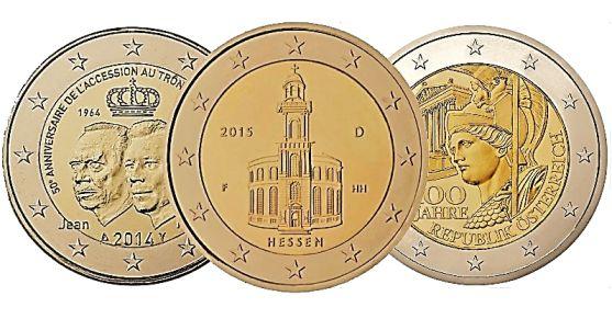 Collectie van 2 euros herdenkingsmunten