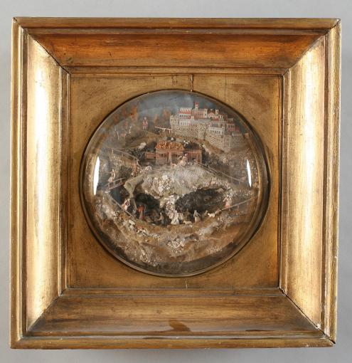 4. posvetna slika (tzv. Kulisenbild) poklonstvo pastira, Austrija, poč. 19. st., drvo, papir, pijesak, platno, slama, MUO 4630