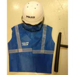 Poliisi kypärä ja liivi
