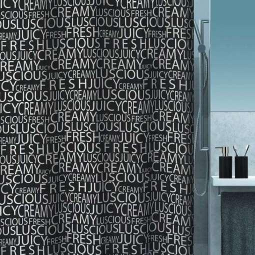 Suihkuverho Creamy Black Spirella 180 x 200 cm