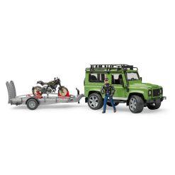 Bruder Land Rover + traileri & moottoripyörä