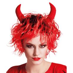 Naamiaisasu peruukki Kiharat punainen paholainen