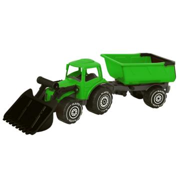 Plasto kauhatraktori ja kärry vihreä