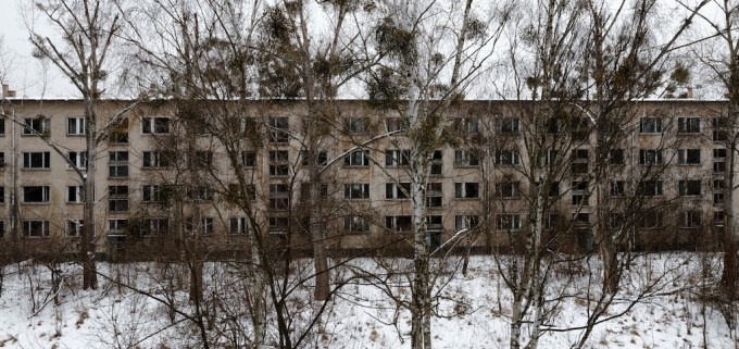 View looking through a juvenile forest growing in the assembly square at another desolate 4 storey building