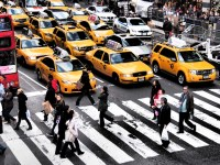 A line of yellow taxis waits as people cross on a zebra