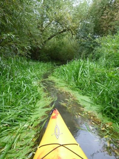 Yellow kayak edges slowly towards a narrow channel