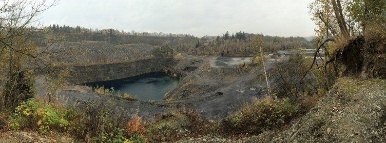 Panoramic view of an abandoned slate quarry