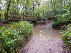 The track crosses a stream while a wooden footbridge caters for sensible folk