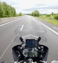 Onboard shot of the bike, munching autoroute