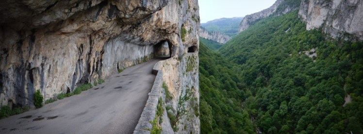 Precipitous balcony road above forest