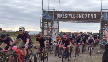 Small image showing some mountain bikers at the start of a race