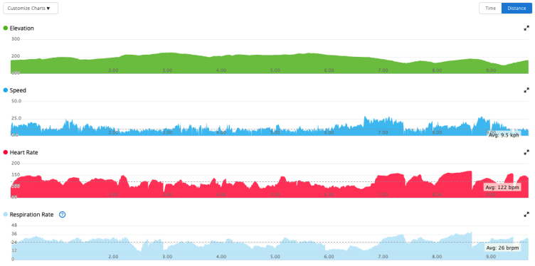 Screen-grab from Garmin Connect showing elevation, speed, heart rate, and respiration rate.