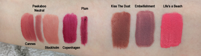nyx produkte, review, swatches, lippen, soft matte lip cream, full throttle, lipstick, lingerie, liquid suede, lip liner, SML, 02 Stockholm, 19 Cannes, SPL, 812 Plum, 860 Peekaboo Neutral, FTL, 03 Kiss The Dust, LIPLI, 02 Embellishment, LSCL, 02 Life's a Beach