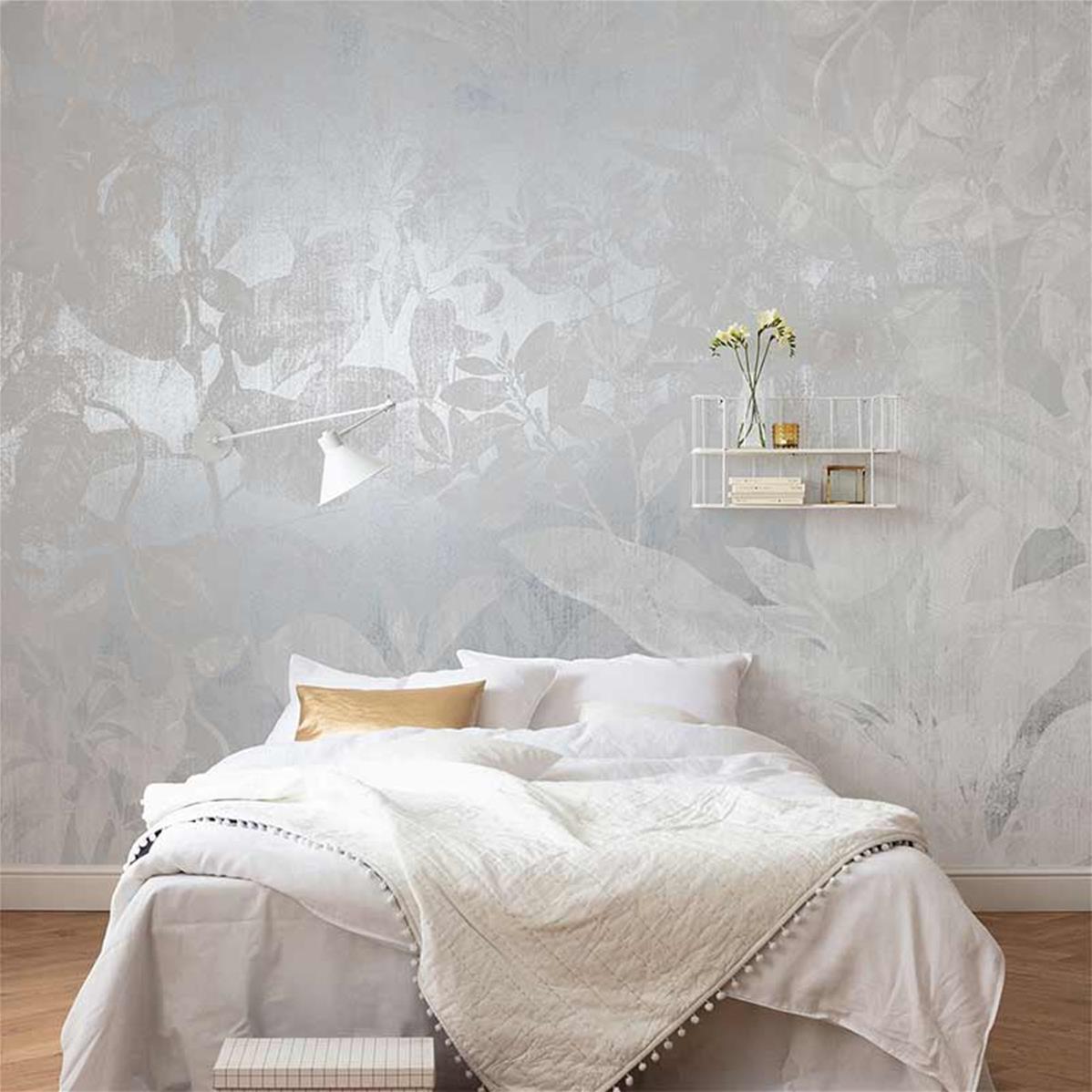 papier peint gris et blanc metallise flora 400x280