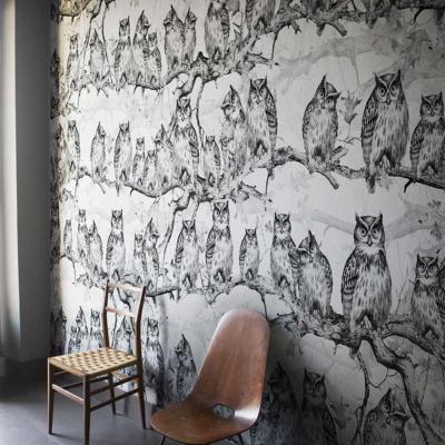 papier peint design noir et blanc owls resort