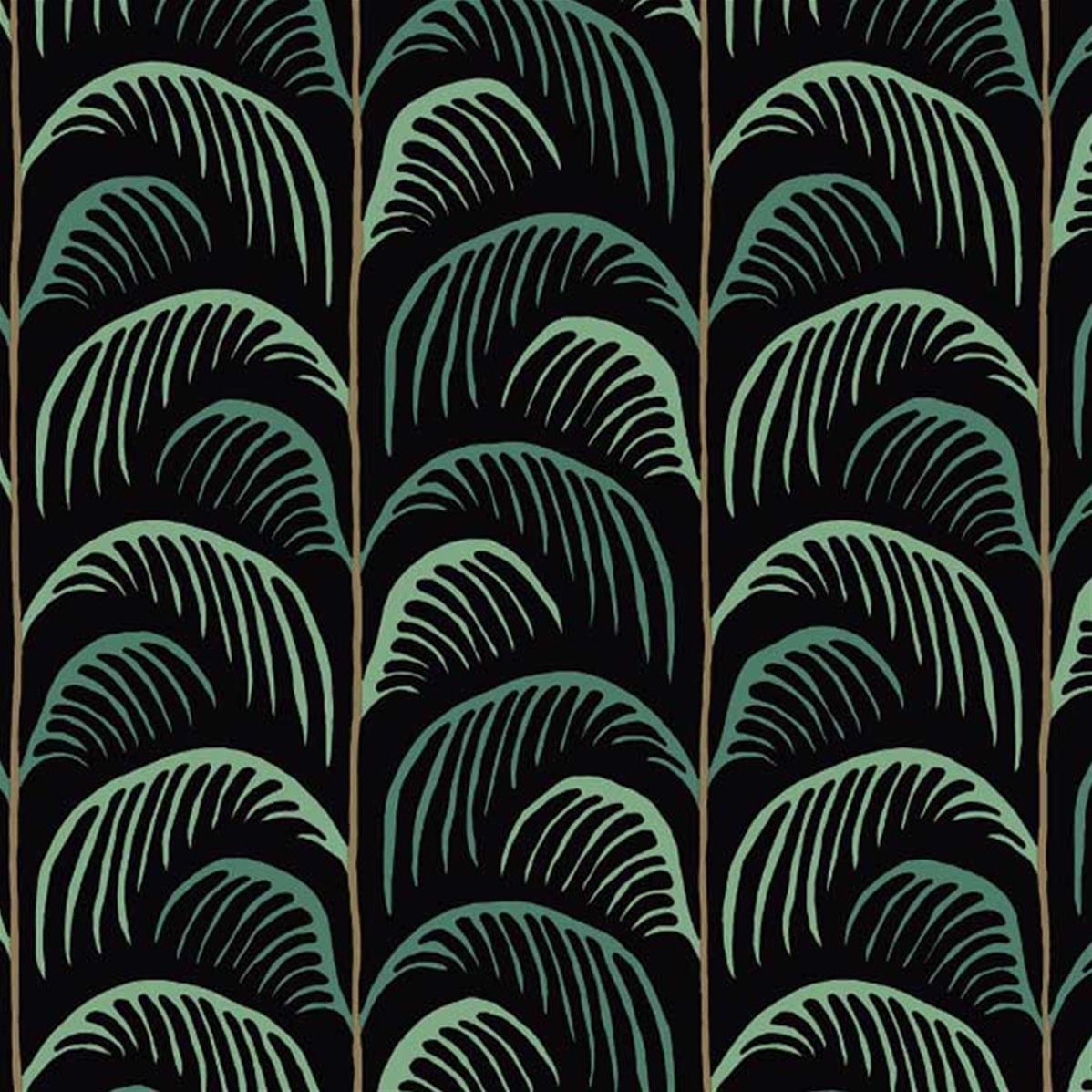 papier peint noir et vert feuilles de palme 10 m