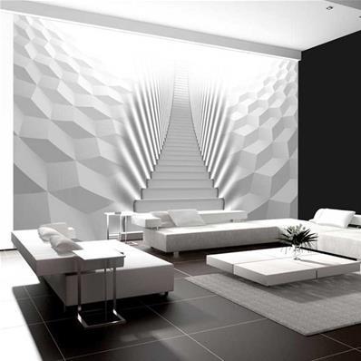 papier peint 3d escalier blanc flight