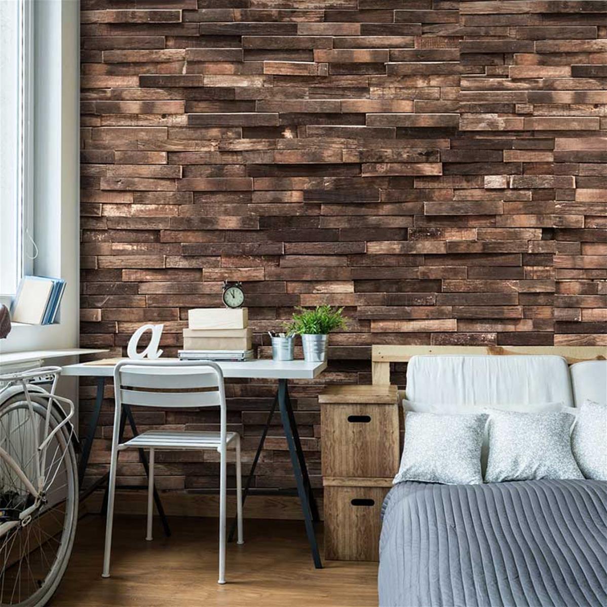 papier peint aspect bois panoramique forest
