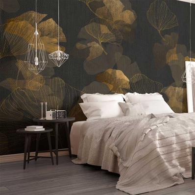 papier peint haut de gamme noir et or ginko