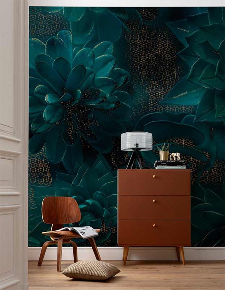 papier peint bleu et or succulentes ombres 400x280
