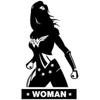 Bathroom wall decal WC WonderWoman