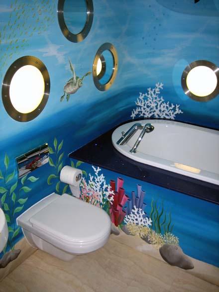 Underwater mural painted in childrens bathroom