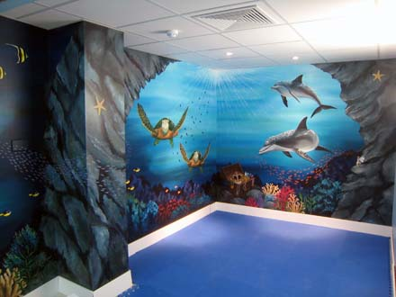 Underwater mural painted for Swiss Smile Dental Clinic