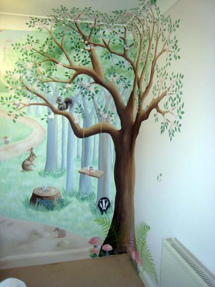 Twins Cute Baby Wallpaper Fairy Woodland Mural In Nursery