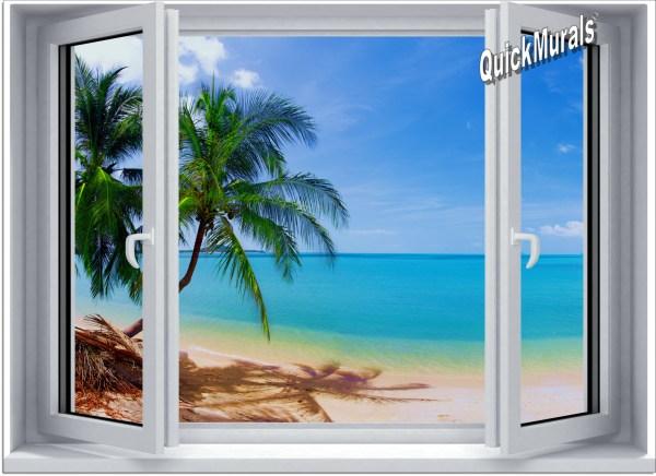 Tropical Beach Window Wall Murals