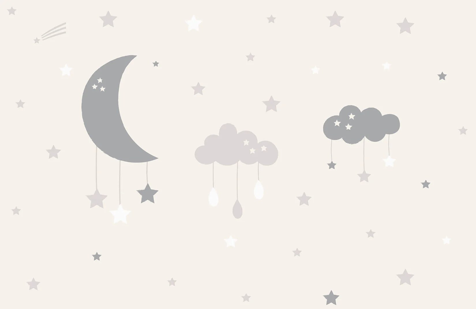 Baby Clouds And Moon Wall Mural Murals Wallpaper