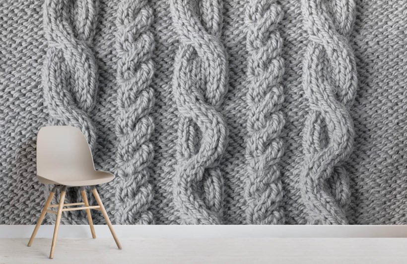 Grey Cable Knit Mural Wallpaper