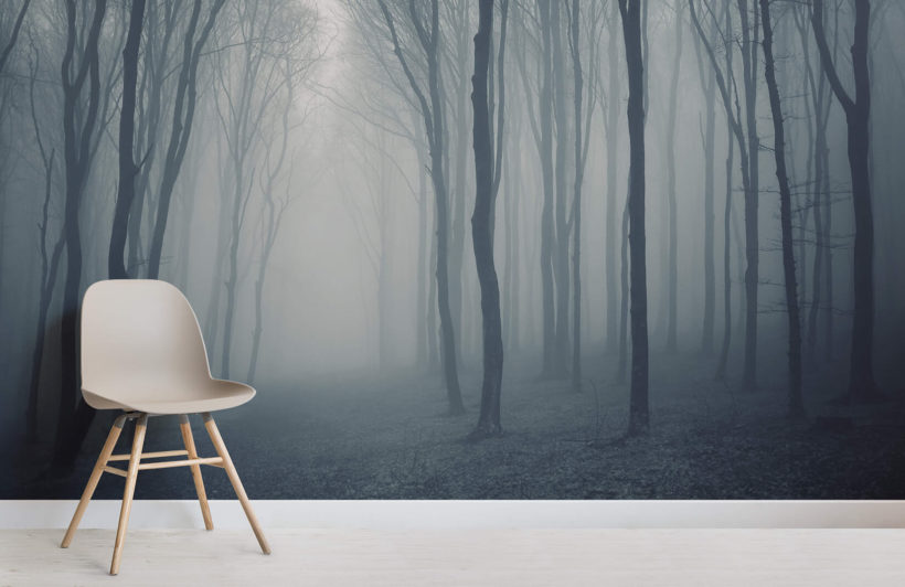 living room decor with grey walls accent chairs for mist forest wallpaper wall mural | muralswallpaper.co.uk