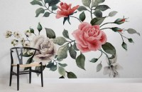 Vintage Red and White Rose Wallpaper | Murals Wallpaper