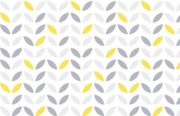 Yellow and Grey Abstract Flower Pattern Wallpaper | Murals ...