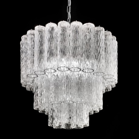 Tronchi Murano Glass Chandelier 7 Lights Transpa And Chrome