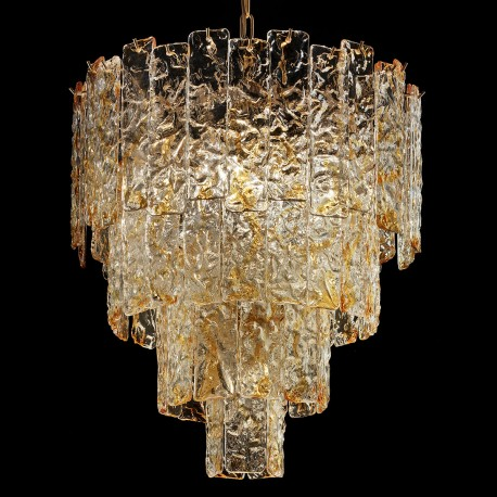 Heather Murano Glass Chandelier 5 Lights Amber And Gold