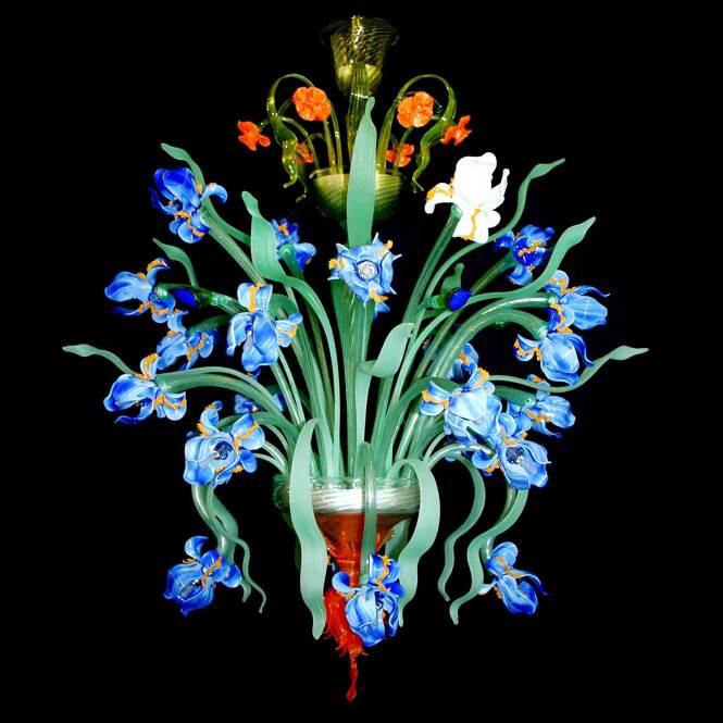 Iris Blu Murano Glass Chandelier
