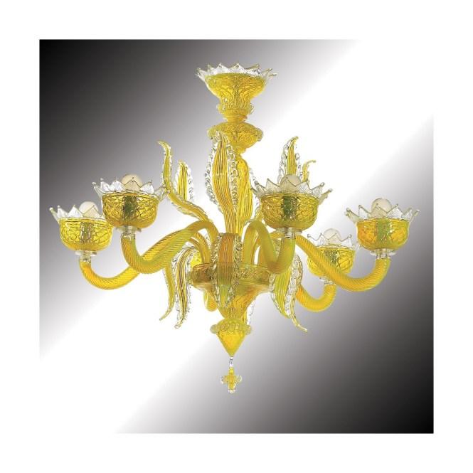 Topazio 6 Lights Yellow Murano Glass Chandelier